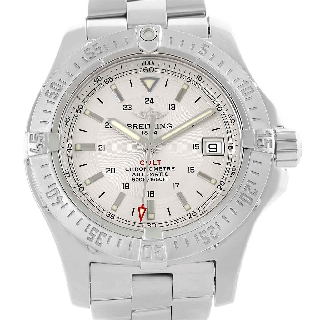 13290 Breitling Colt Silver Dial Stainless Steel Automatic Mens Watch A17380 SwissWatchExpo