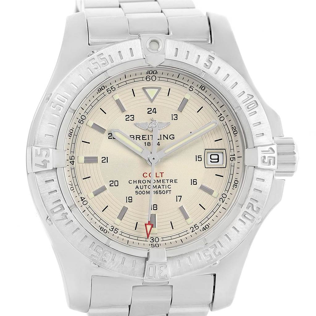 13887 Breitling Colt Silver Dial Steel Mens Watch A17380 Box Papers SwissWatchExpo