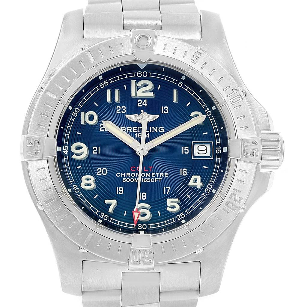 Breitling Colt Quartz Blue Dial Stainless Steel Mens Watch A74380 SwissWatchExpo