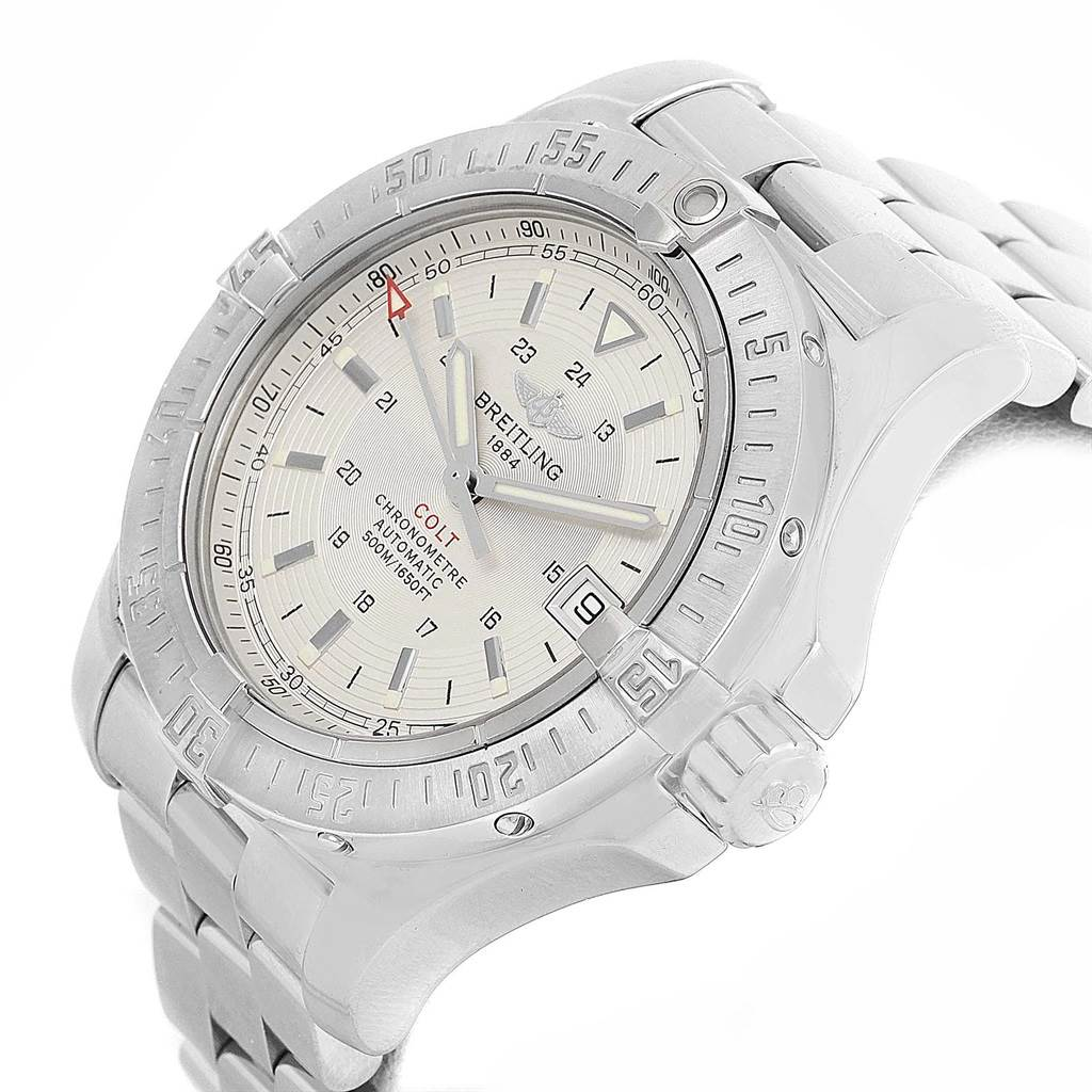 16326 Breitling Colt Silver Dial Stainless Steel Mens Watch A17380 Box Papers SwissWatchExpo