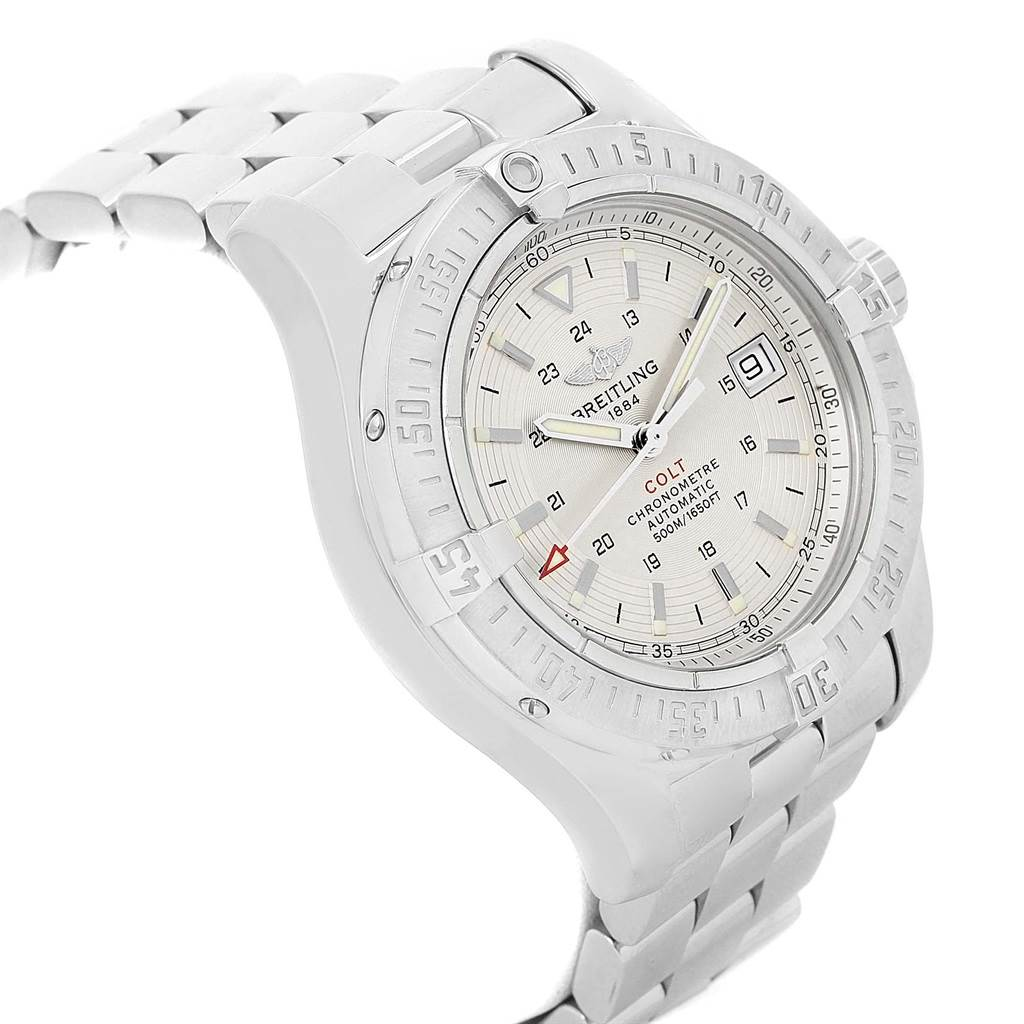 Breitling Colt Silver Dial Stainless Steel Mens Watch A17380 Box Papers SwissWatchExpo