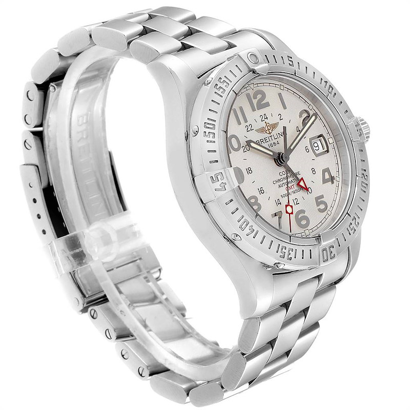 Breitling Colt GMT Automatic Silver Dial Steel Mens Watch A32350 SwissWatchExpo