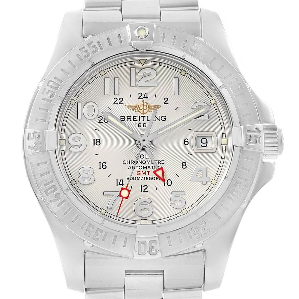 Breitling Colt GMT 40.5 mm Silver Dial Steel Mens Watch A32350 SwissWatchExpo
