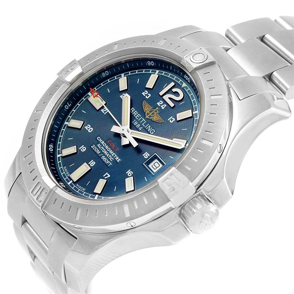 16868 Breitling Colt Blue Dial Automatic Steel Mens Watch A17388 Box Papers SwissWatchExpo