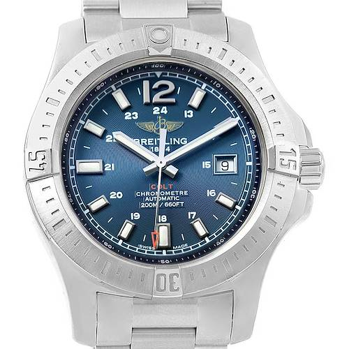 Photo of Breitling Colt Blue Dial Automatic Steel Mens Watch A17388 Box Papers