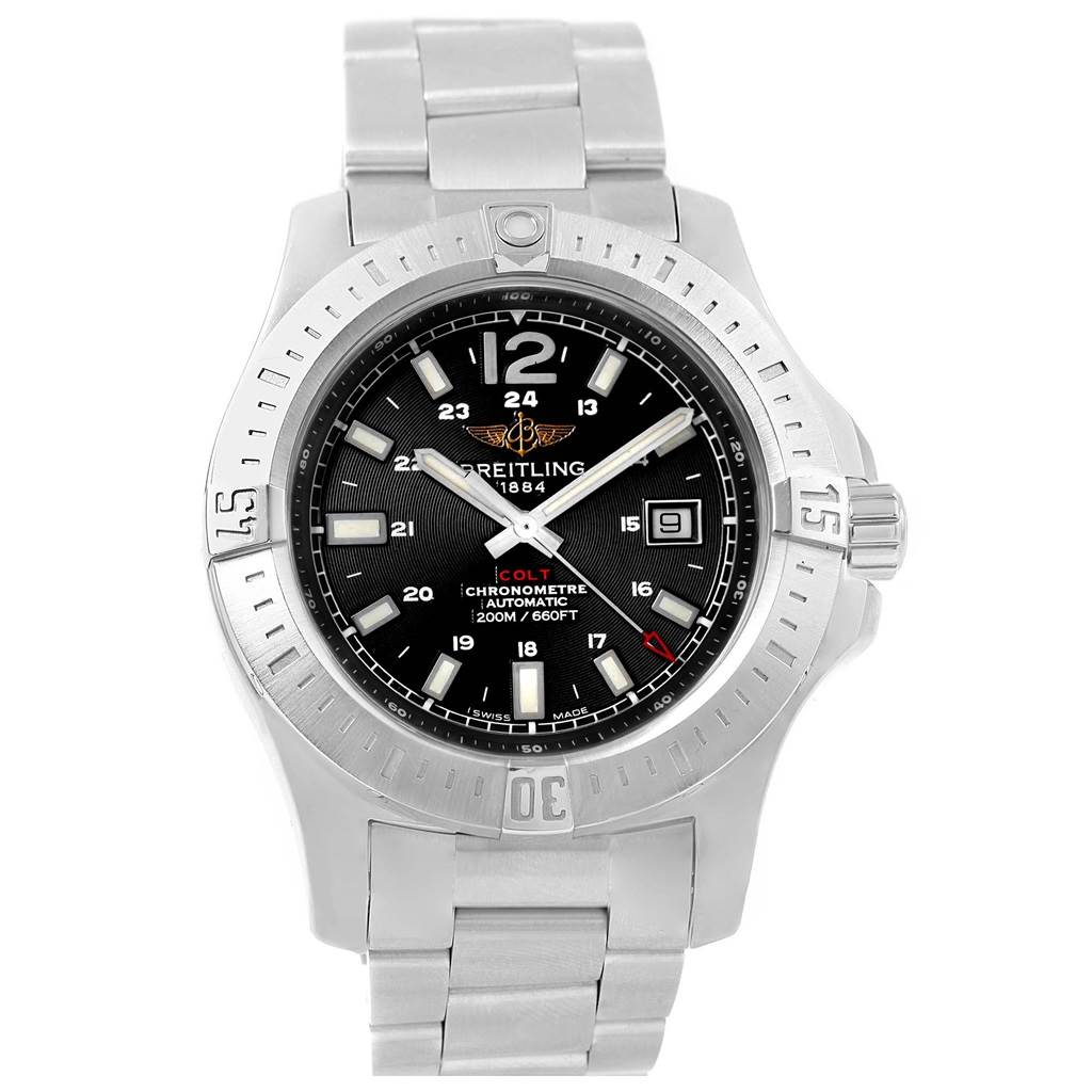 16986 Breitling Colt Black Baton Dial Automatic Steel Mens Watch A17388 Card SwissWatchExpo