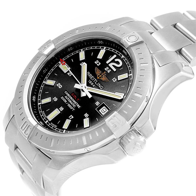 Breitling Colt Black Baton Dial Automatic Steel Mens Watch A17388 Card SwissWatchExpo