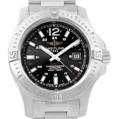 Photo of Breitling Colt Black Baton Dial Automatic Steel Mens Watch A17388 Card