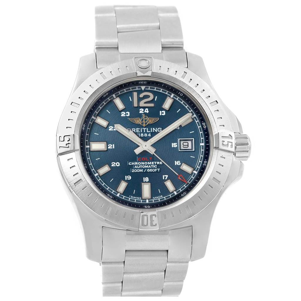 17268 Breitling Colt Blue Dial Automatic Steel Mens Watch A17388 Box Papers SwissWatchExpo