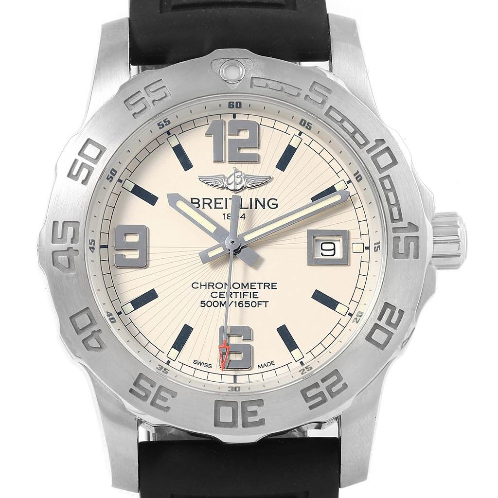 Breitling Colt 44 Silver Dial Quartz Steel Mens Watch A74387 Box Papers SwissWatchExpo