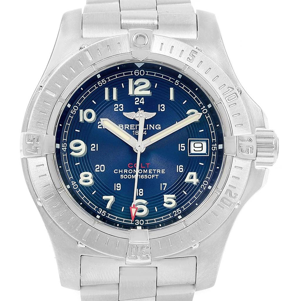 18438 Breitling Colt Quartz Blue Dial Stainless Steel Mens Watch A74380 SwissWatchExpo