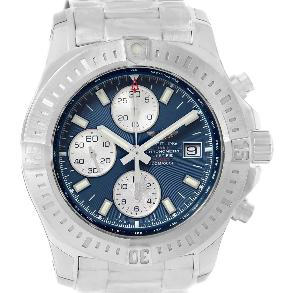 Breitling Colt Blue Dial Automatic Chronograph Watch A13388 Unworn SwissWatchExpo