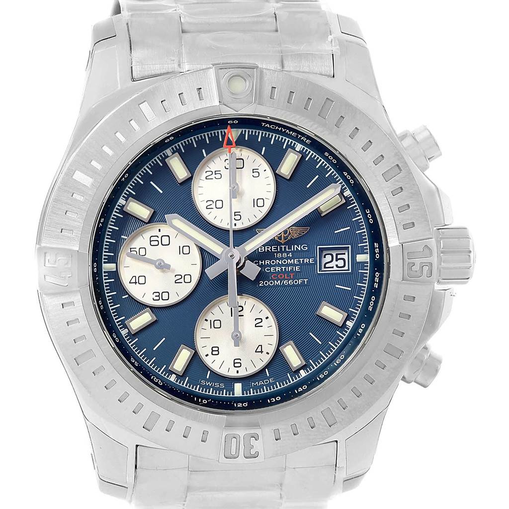 18575 Breitling Colt Blue Dial Chronograph Steel Watch A13388 Unworn SwissWatchExpo