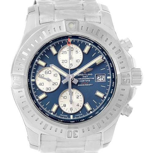 Photo of Breitling Colt Blue Dial Chronograph Steel Watch A13388 Unworn
