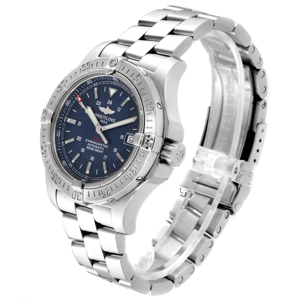 Breitling Colt 41mm Blue Dial Steel Mens Watch A17380 SwissWatchExpo