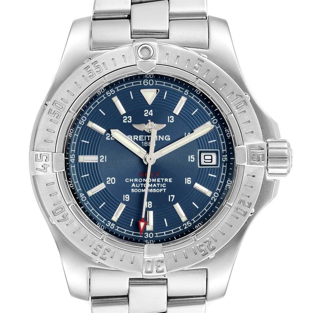 18261 Breitling Colt 41mm Blue Dial Steel Mens Watch A17380 SwissWatchExpo