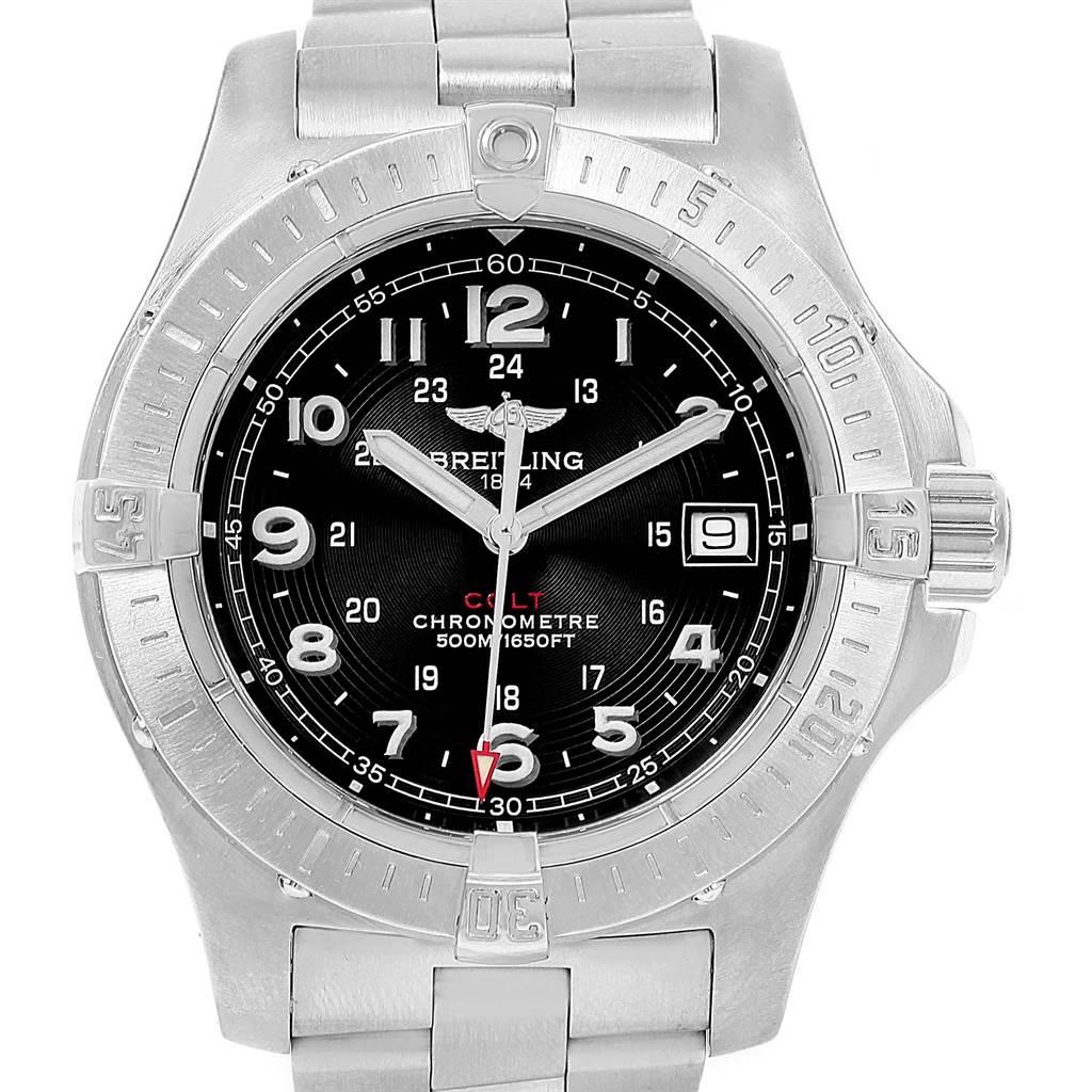 Breitling Colt Quartz Black Dial Stainless Steel Mens Watch A74380 SwissWatchExpo