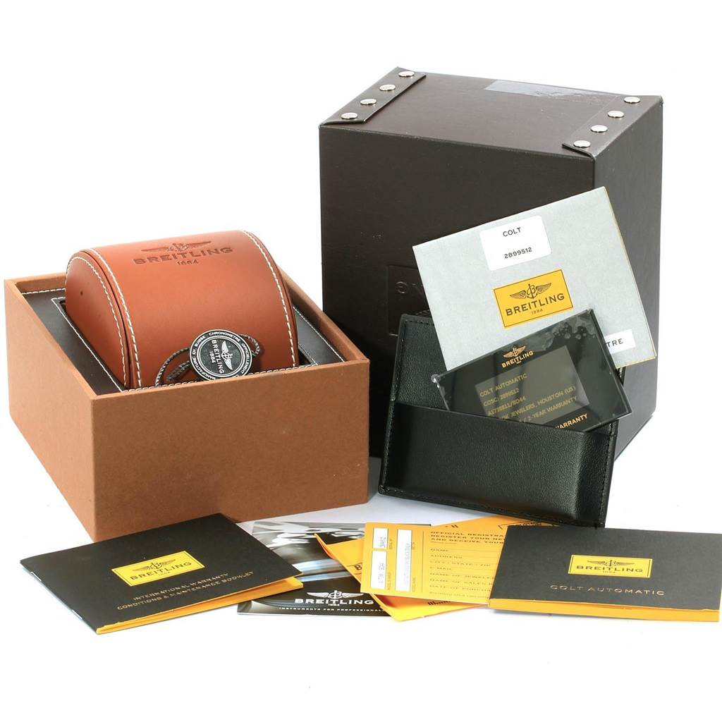 18966 Breitling Colt Black Dial Automatic Steel Mens Watch A17388 Box Card SwissWatchExpo