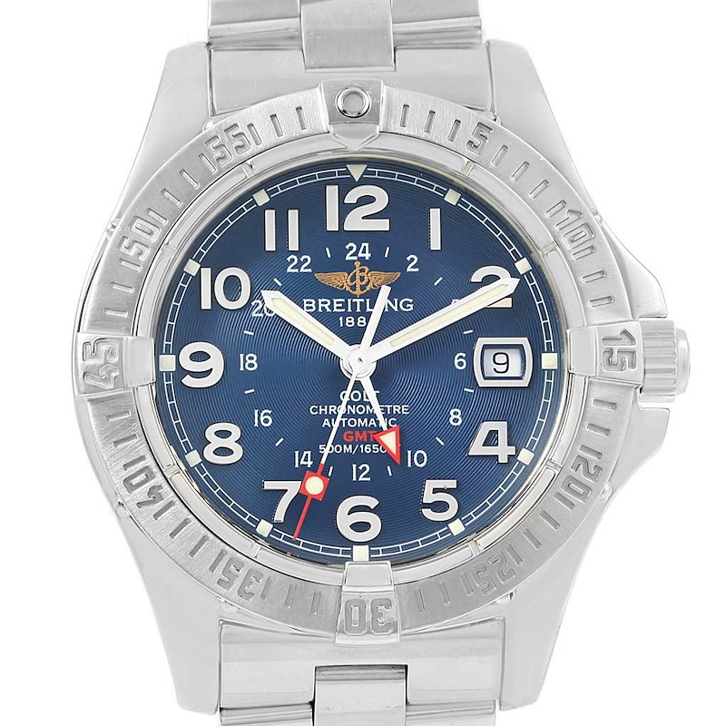 Breitling Colt GMT Automatic Blue Dial Steel Mens Watch A32350 SwissWatchExpo