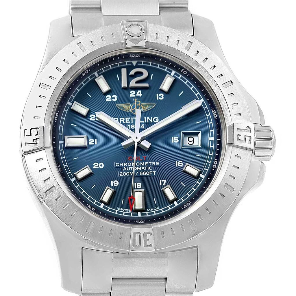 Breitling Colt Blue Baton Dial Automatic Steel Mens Watch A17388 SwissWatchExpo