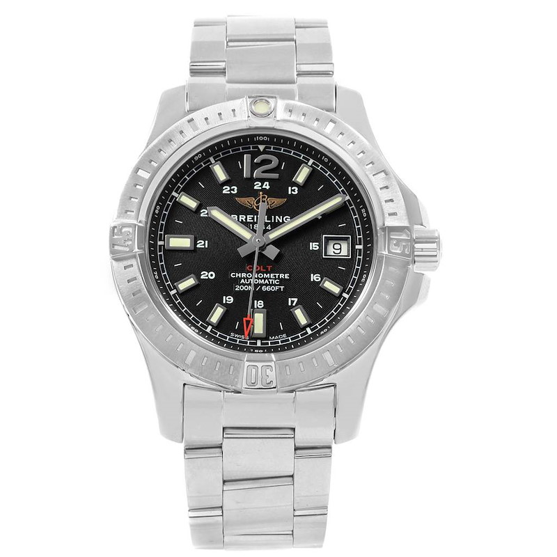 Breitling Colt Black Dial Automatic Steel Mens Watch A17313 SwissWatchExpo