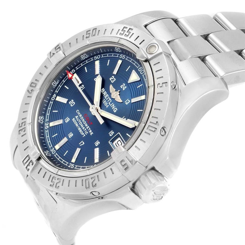 Breitling Colt 41mm Blue Dial Steel Mens Watch A17380 Box Papers SwissWatchExpo