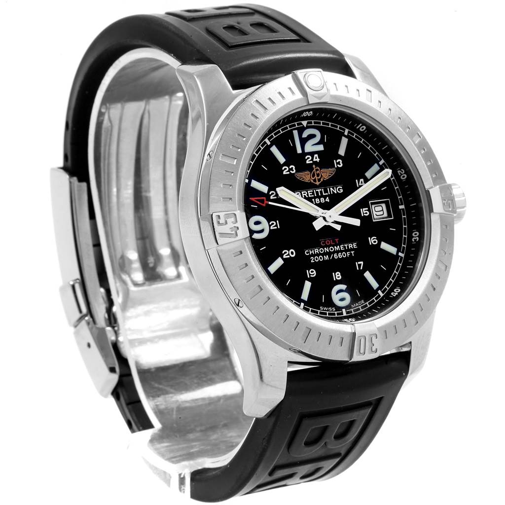 Breitling Colt Black Dial Rubber Strap Steel Mens Watch A74388 Box Papers SwissWatchExpo