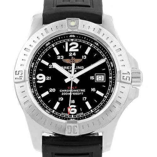 Photo of Breitling Colt Black Dial Rubber Strap Steel Mens Watch A74388 Box Papers