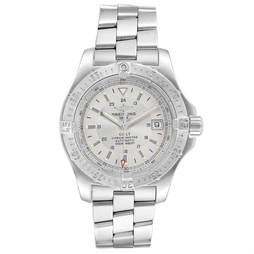19962 Breitling Colt 41mm Silver Dial Automatic Steel Mens Watch A17380 SwissWatchExpo