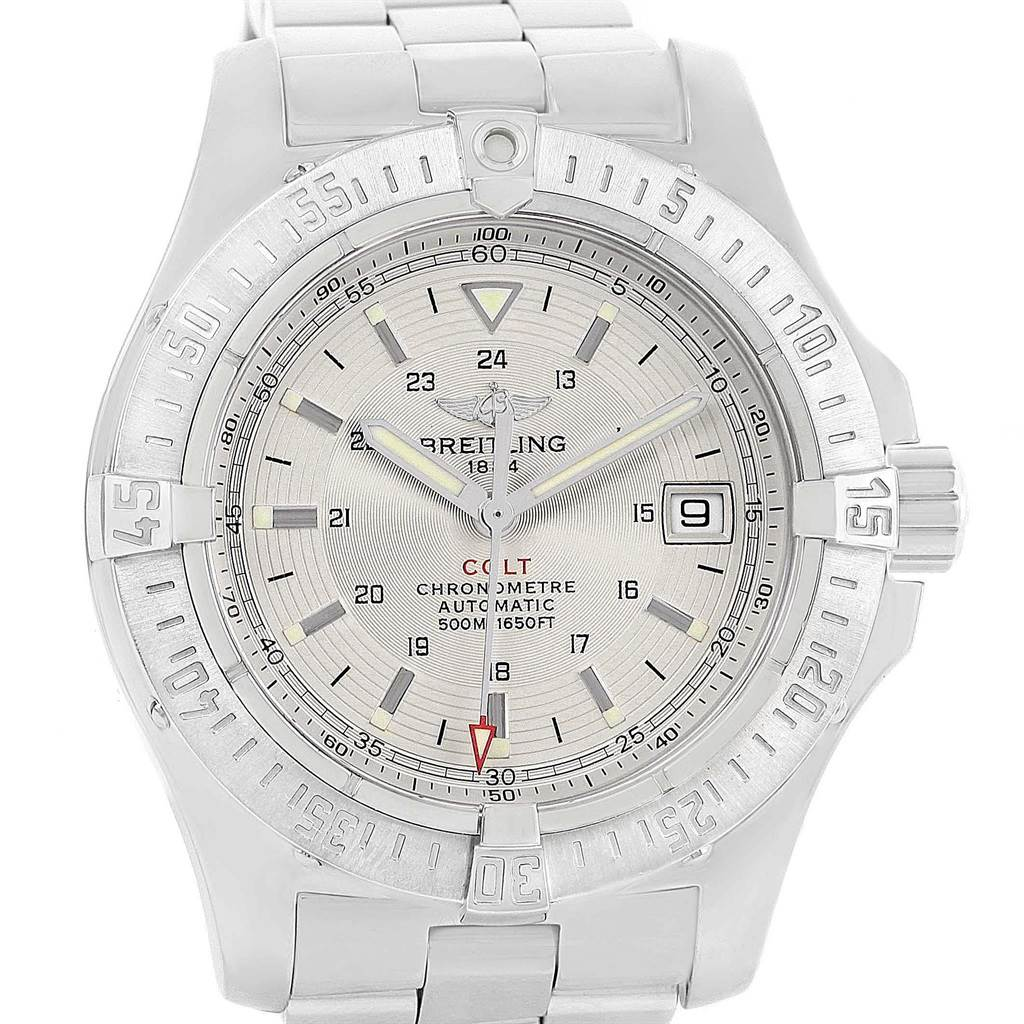 19962 Breitling Colt Silver Dial Automatic Steel Mens Watch A17380 SwissWatchExpo