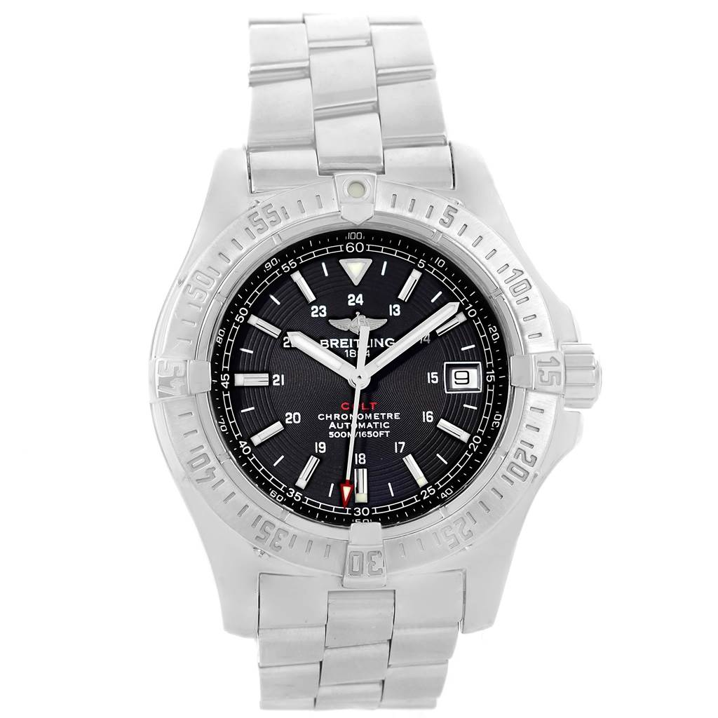 16339 Breitling Colt Black Dial Automatic Steel Mens Watch A17380 Box Papers SwissWatchExpo
