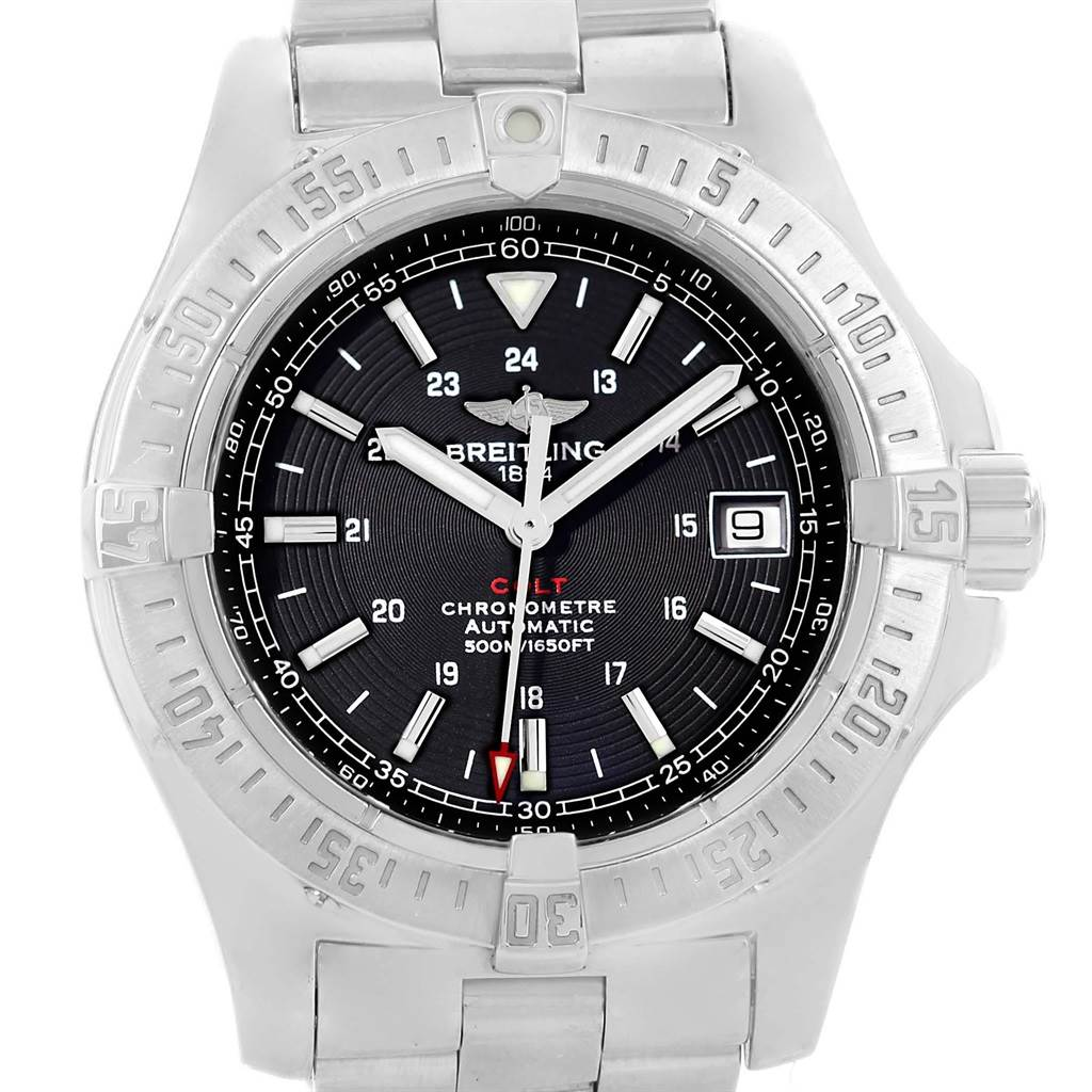 Photo of Breitling Colt Black Dial Automatic Steel Mens Watch A17380 Box Papers