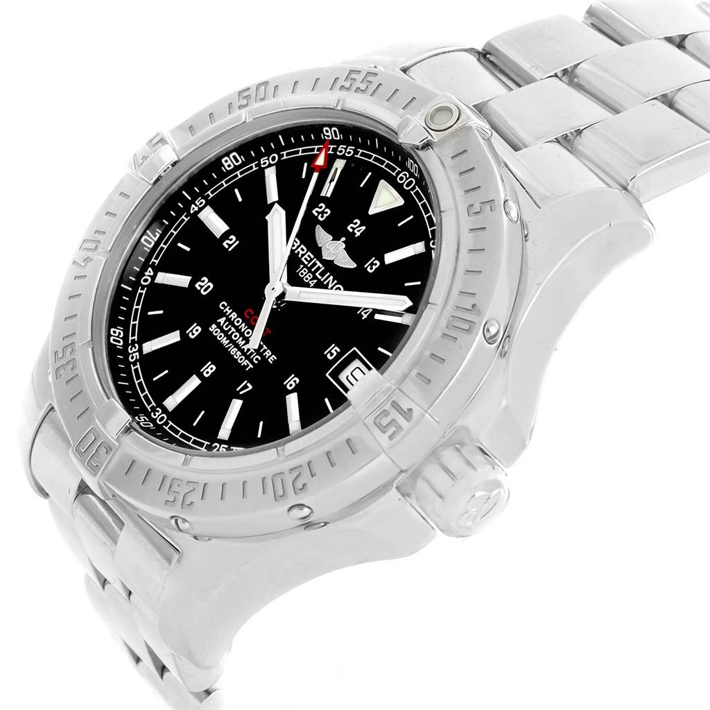20291 Breitling Colt 41mm Black Dial Automatic Steel Mens Watch A17380 SwissWatchExpo