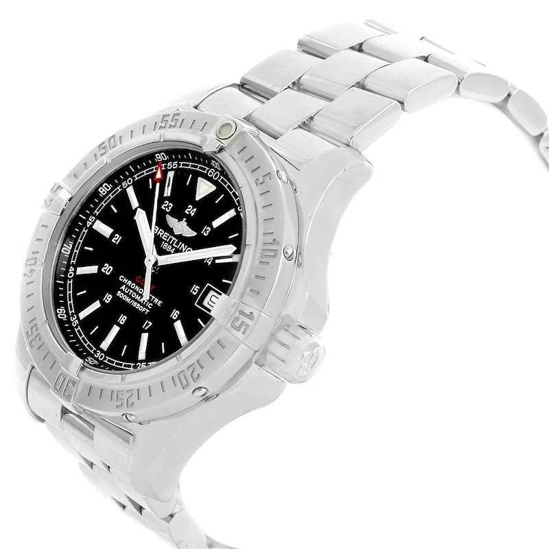 Breitling Colt 41mm Black Dial Steel Mens Watch A17380 Box Papers SwissWatchExpo