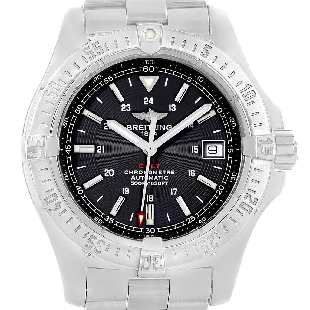 20870 Breitling Colt 41mm Black Dial Steel Mens Watch A17380 Box Papers SwissWatchExpo