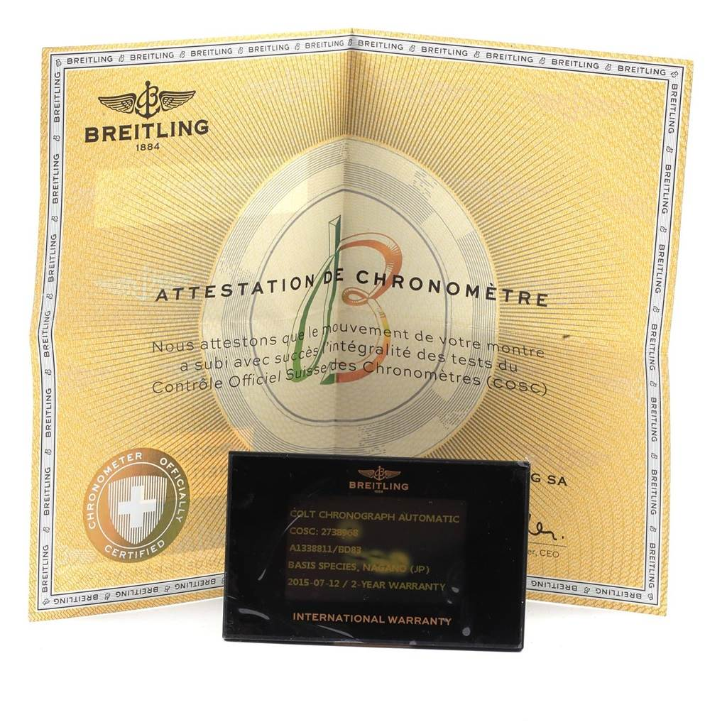 21363 Breitling Colt Black Dial Stainless Steel Mens Watch A13388 Box Papers SwissWatchExpo