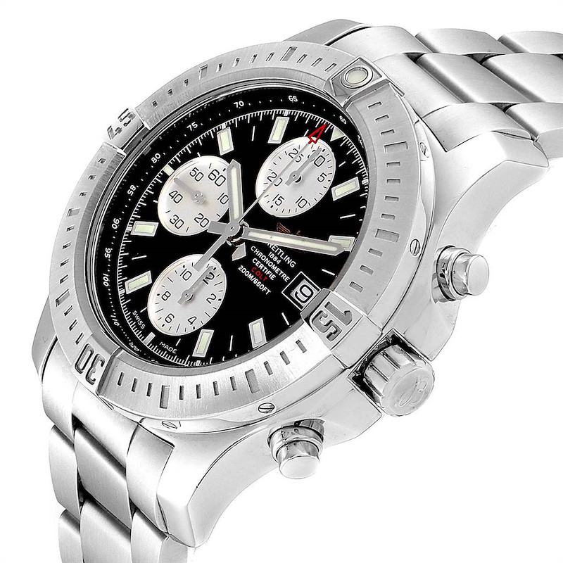 Breitling Colt Black Dial Stainless Steel Mens Watch A13388 Box Papers SwissWatchExpo