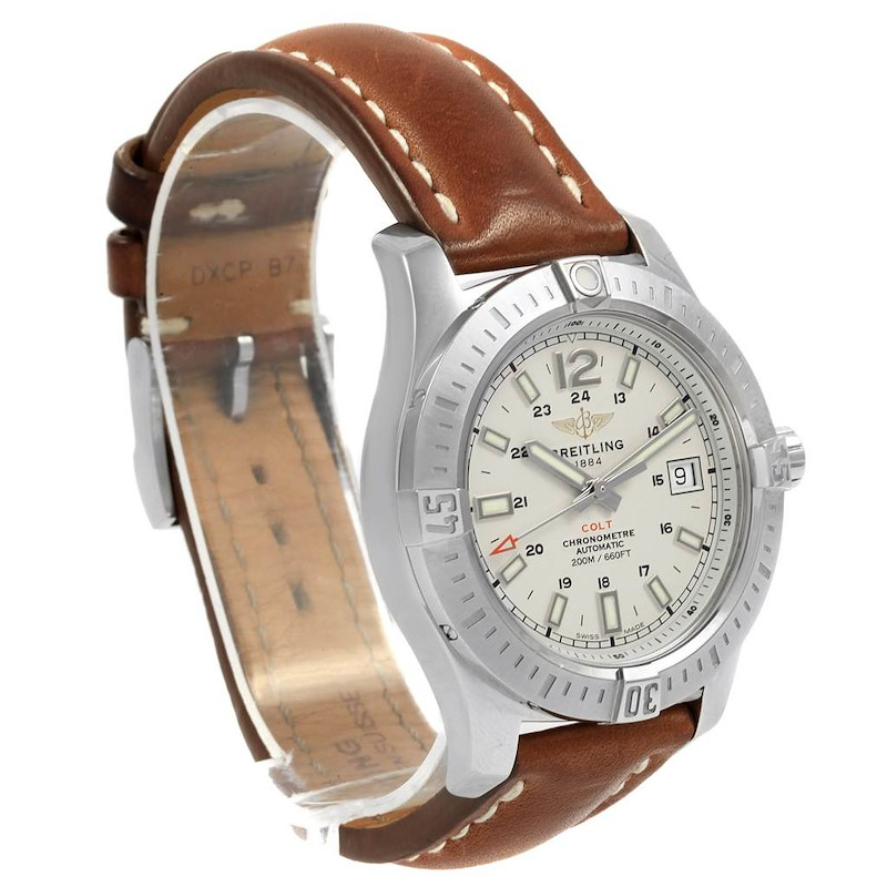 Breitling Colt 41 Silver Dial Automatic Mens Watch A17313 Box Papers SwissWatchExpo