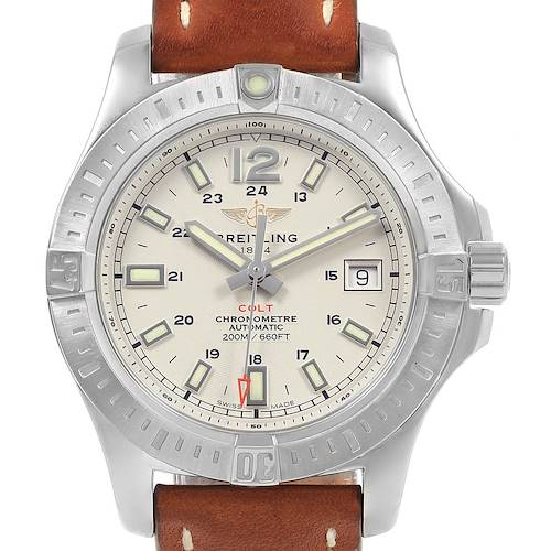 Photo of Breitling Colt 41 Silver Dial Automatic Mens Watch A17313 Box Papers