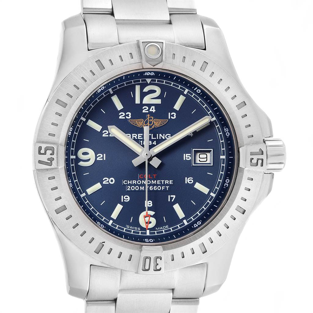 21856 Breitling Colt Blue Dial Stainless Steel Mens Watch A74388 SwissWatchExpo