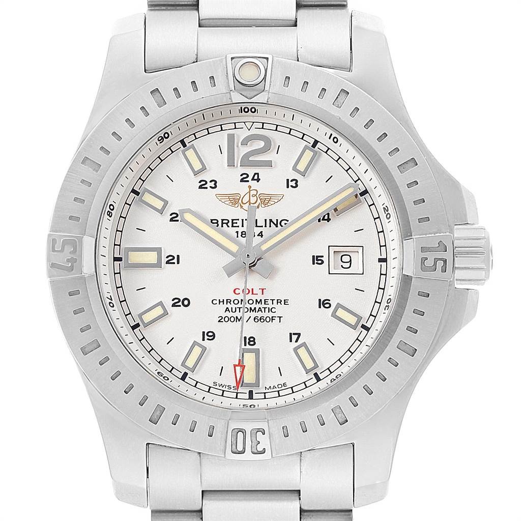 22073 Breitling Colt White Dial Automatic Steel Mens Watch A17388 Box Card SwissWatchExpo