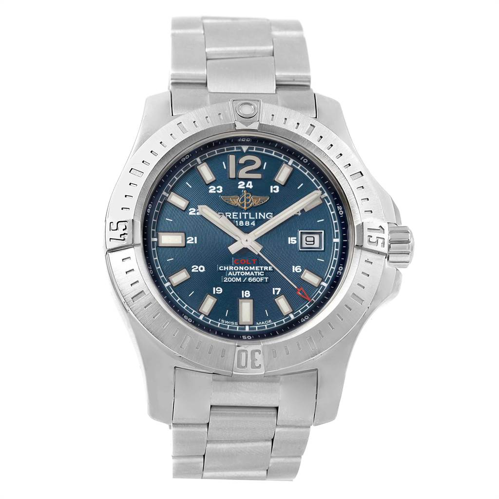 22087 Breitling Colt Blue Dial Automatic Steel Mens Watch A17388 Box Papers SwissWatchExpo