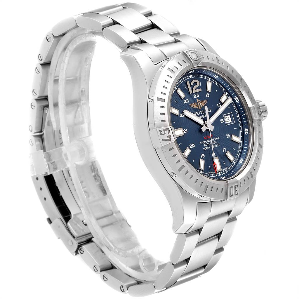 Breitling Colt Blue Dial Automatic Steel Mens Watch A17388 Box Papers SwissWatchExpo