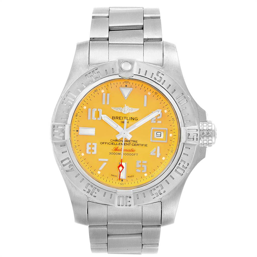 22404 Breitling Avenger II 45 Seawolf Yellow Dial Mens Watch A17331 Box Card SwissWatchExpo