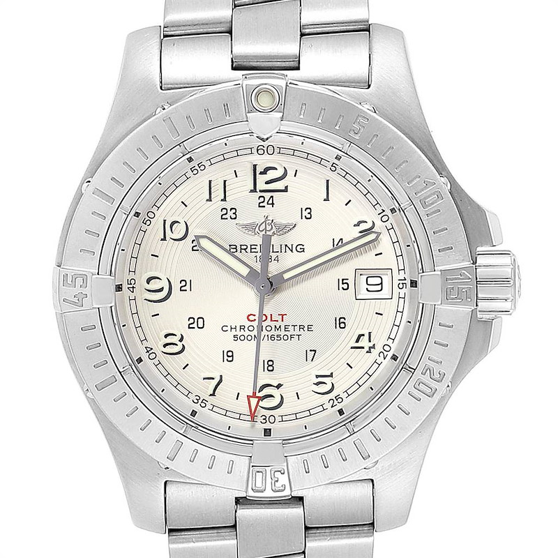 Breitling Colt Quartz Silver Dial Stainless Steel Mens Watch A74380 SwissWatchExpo
