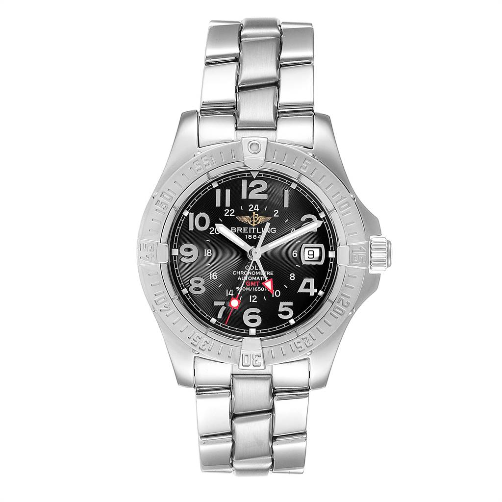 Breitling Colt GMT Black Dial Automatic Steel Mens Watch A32350 Box Papers SwissWatchExpo