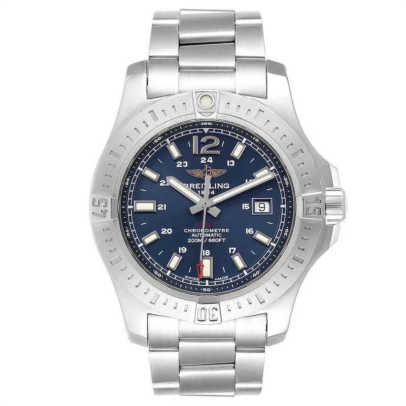 Breitling Colt Blue Dial Automatic Steel Mens Watch A17388 Box Card SwissWatchExpo