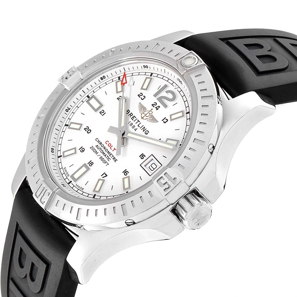 Breitling Colt 41 White Dial Automatic Mens Watch A17313 Box Papers SwissWatchExpo