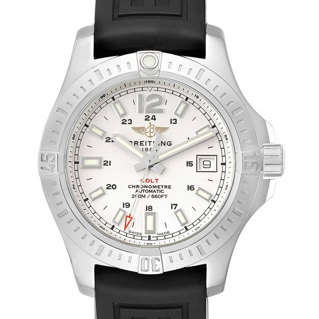 Photo of Breitling Colt 41 White Dial Automatic Mens Watch A17313 Box Papers