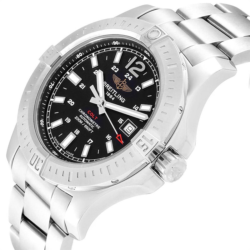 Breitling Colt Black Dial Automatic Steel Mens Watch A17388 Box Card SwissWatchExpo